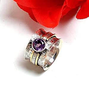 Amethyst Band Rings, Gift Ring for Mother's Day, 925 Sterling Silver Wide Band Rings for Women