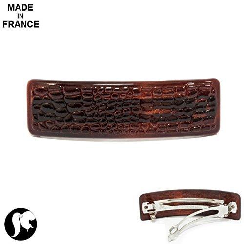 Barrette en Métal et Plastique - 8,5cm - Serpent Marron - Accessoire Coiffure