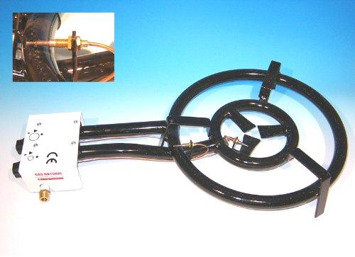 Gasbrenner 30cm, 1-Ring-Brenner 7 KW, mit Zündsicherung, für Innenbenutzung