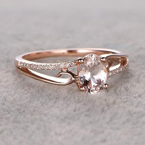 PULT Trendy Crystal Engagement Claws Ringe für Frauen AAA White Zirkon Cubic Elegante Ringe weiblich Hochzeit jewerly, 5, Rose Gold 2