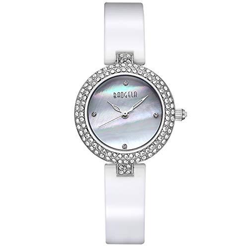 QRMH Damen Keramik-Uhr 29Mm Rund Hohl Ziffer Keramik-Gurt Quarzuhr Fashion Diamond Women Es Watch Waterproof