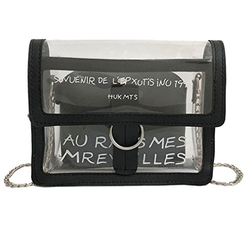 Quaan Laser Transparent Gelee Tasche Frau Handtasche Tote Taschen Dame Tragbar Beiläufig Schulter Bogen Stroh Gewebte Eimer Handtasche Bote Umhängetasche Brust Schulter Metall Kette (Schwarz)