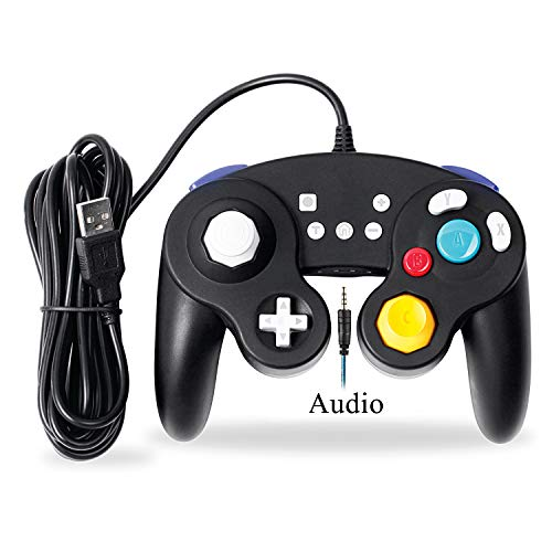 EXLENE Wired Controller Gamepad für Nintendo Switch mit Audio Funktion (3m/10ft), Kompatibel mit PC/PS3, GameCube Stil, Motion controls, Rumble, Turbo (Schwarz) (Control Motion Ps3 Mit)