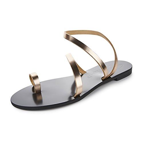 Schmick Shoes Sandalen Hekate: Damen Leder Zehentrenner Sommerschuhe Riemchensandale Flacher Absatz Handgefertigt Größe:38, Farbe:Rosegold/Schwarz (Gladiator Leder Sandalen Schwarz)