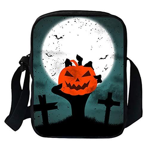 KIMODO Damen Herren Funny Halloween Schultertasche Umhängetasche Mode Kürbis Drucken Messenger Neue Henkeltasche Handtasche Bag (Passport-halter Hals Für Männer)