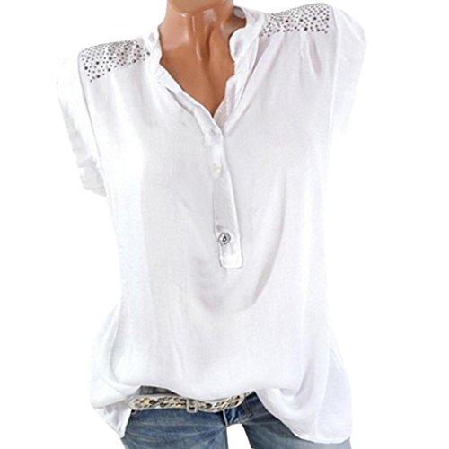 VJGOAL Damen T-Shirt, Damen Mode Kurzarm V-Ausschnitt Spitze Gedruckte Spitze Tops Sommer lose T-Shirt Bluse (2XL / 44, X-Diamant-weiß)