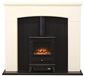 Adam Derwent Suite with Hudson Electric Stove, 2000 Watt, Ivory/ Black