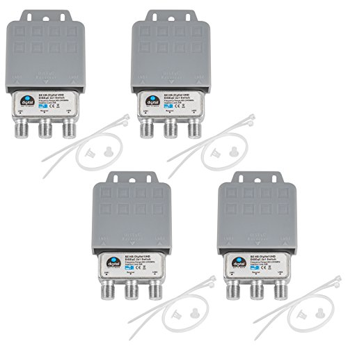 4x DiseqC Schalter SE Switch 2/1 mit Wetterschutzgehäuse HB-DIGITAL 2x SAT LNB 1 x Teilnehmer/Receiver für Full HDTV 3D 4K UHD