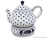 Original Bunzlauer Keramik Teekanne 2,0 Liter mit integriertem Sieb und Stövchen im Dekor 37