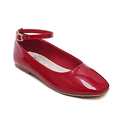 Ladola Womens Soft-Ground Adjustable-Strap Solid Red Urethane Pumps Shoes -