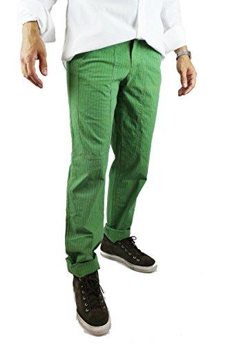 JECKERSON pantaloni uomo verde rosso fucsia celeste cotone (size 30, Verde)