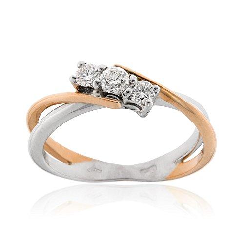 Gioiello Italiano - Anello trilogy in oro bianco e rosa con diamanti (0.25 Ct Anello Di Fidanzamento Anello Di Fidanzamento)