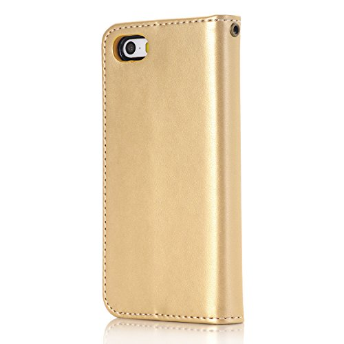 Custodia iPhone SE, ISAKEN Custodia iPhone 5S, Cover iPhone 5 Flip Case, Elegante borsa Custodia in Pelle Protettiva Portafoglio Case Cover per Apple iPhone 5 5S SE / con Supporto di Stand / Carte Slo Rose: oro
