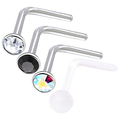 4 Stück nasenpiercing stecker chirurgenstahl 1mm piercing nase set nasenstecker Nasen Piercing edelstahl BFHN - CL BK AB