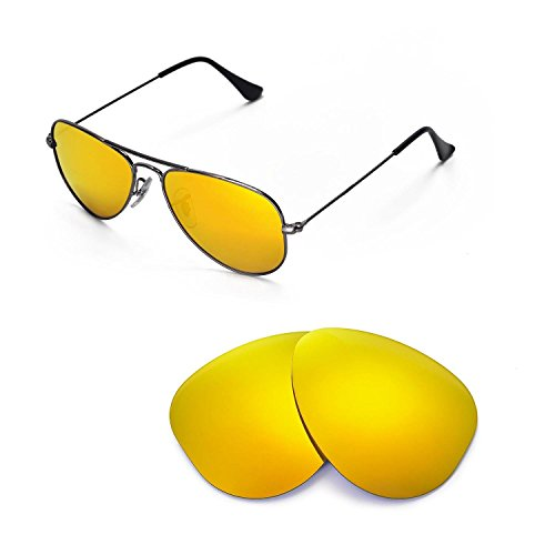 Walleva Ersatzgläser für Ray-Ban Aviator RB3044 Small Metal 52mm Sonnenbrille - Mehrfache Optionen (24K Gold Mirror Coated - Polarisiert)