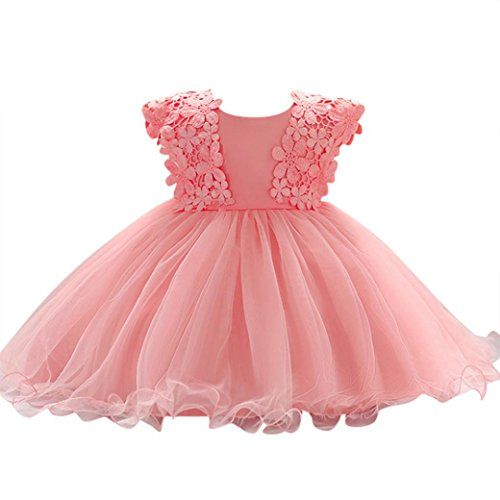 Baby Mädchen Prinzessin Kleid Blumenmädchenkleid Taufkleid Festlich Kleid Hochzeit Partykleid Festzug Babybekleidung Xinantime (12-18Monat, Pink) (Baby Cool Sachen)