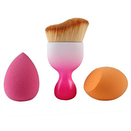 Malloom 1pc Ombra Contour Pennelli Di Trucco+goccioline Spugna+uovo A Forma Spugna (Rosa caldo)