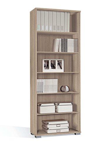 Estantería librería biblioteca de pie alta color cambrian, estantes regulables, gruesos de 22MM, para oficina, despacho o estudio. 199cm altura x 75cm ancho x 33cm fondo