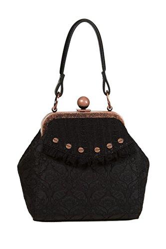 Verboten Apparel Steampunk viktorianische Vintage elegante Damen Handtasche Schwarz
