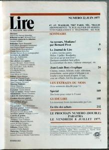 LIRE MAGAZINE N? 22 du 01-06-1977 JEAN-LOUIS BORY - M. TOURNIER - RENE DUMONT - JACQUES DOURNES - FERNAND DUPUY - BARRET ET GURGAND - G. CESBRON - JULIEN BLANC - M. DE SAINT PIERR