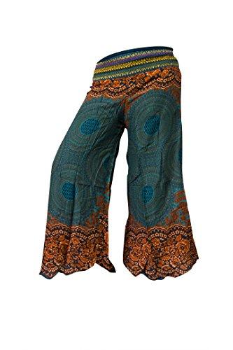 Palazzo-Hosen mit weiten Hosenbeinen, Schlaghosen Hippy Boho Gypsy Festival Hipster Style (Rose Dark (Outfit Zigeuner)