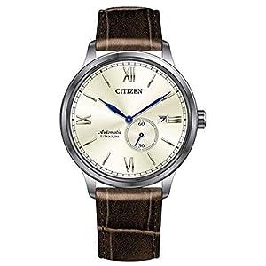 Citizen Reloj Analogico para Hombre de Mecánico con Correa en Cuero NJ0090-13P
