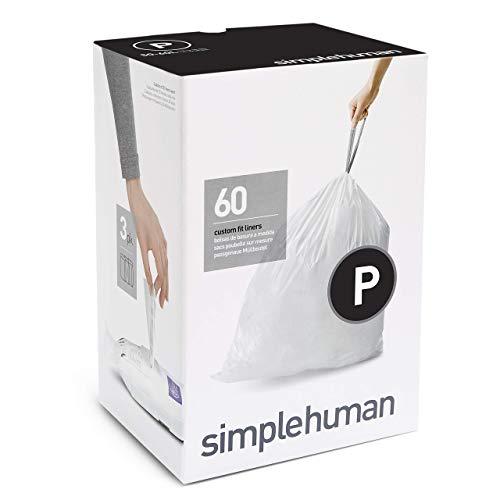 Simplehuman CW0162, Sacchetti Adattabili per l'Immondizia, Codice P - 50-60 L, 60 Sacchetti