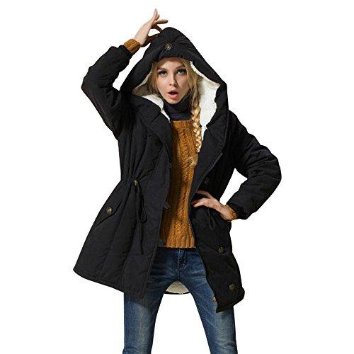 Mambain parka donna invernali taglie forti caldo giubbotto cappotti donna imbottito con cappuccio cachemire slim fit giacche donna eleganti manica lungo antivento spessa giacca cappotto