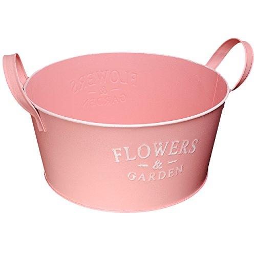 alles-meine.de GmbH 1 Stück _ XL Design - Blumentopf / Pflanzkübel / Pflanzschale - Metall -  Flowers & Garden - rosa pink - Pastell  - Ø 28 cm - RUND - GROß - mit Henkel - Eim..