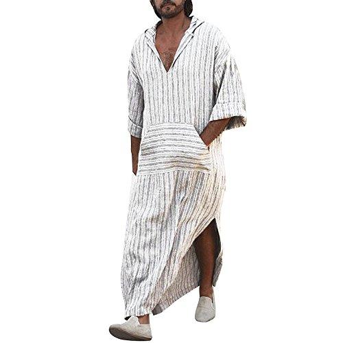 zarupeng-Túnicas étnicas para hombre Suelto a rayas de manga larga con capucha Vintage Casual Dress Kaftan (Blanco, XL)