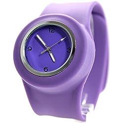 PNP glänzende silberne Uhrgehäuse-Silikon-Violett-Band Unisex-SNAP-Mode-Uhr