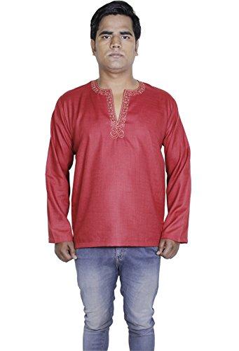 Cotone mens kurta lungo ricamato t-shirt con una lunga -m manica