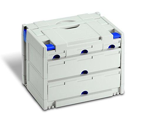TanosNeu-Schubladen-systainer IV – Lichtgrau mit blauen Verschluss