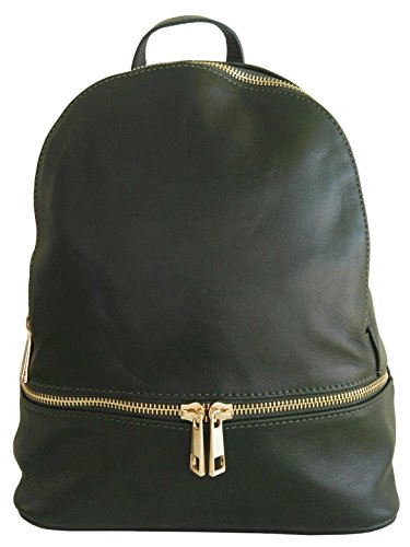 Sac à dos en cuir taille M, pour femme, made in Italy (vert)