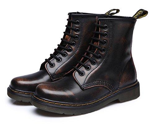 uBeauty - Bottes Femme - Martin Bottes - Boots Flattie Sport - Chaussures Classiques - Bottines À Lacets Marron