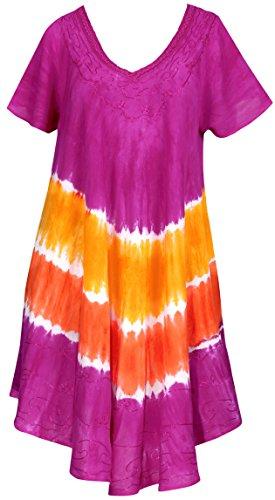 La Leela Girls Rayon Crusie Short Dress Pink Orange UK : 14 (M) - 24 (2XL)