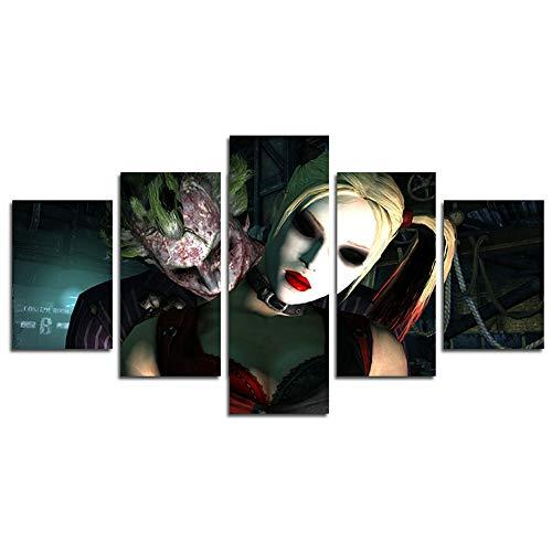 mälde Leinwand, 5 Stück Joker Harley Quinn DC Comics Szene Wand Kunst Malerei für Zuhause Wohnzimmer Büro Moderne Dekoration Geschenk (ungerahmt) ()