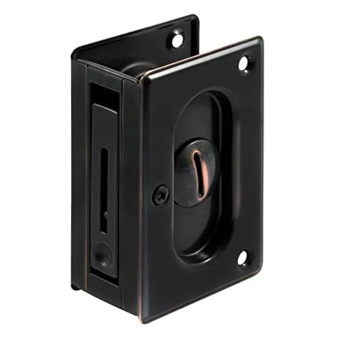 Prime-Line Products N 7368 Pocket Door Privacy Lock with Pull, 3-3/4-Inch, Classic Bronze by Prime-Line Products