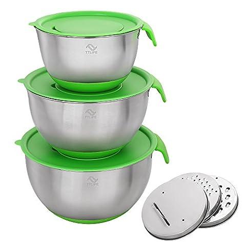 TTLIFE Non-Slip-Edelstahl-Rührschüssel-Set mit Deckel, Ausgießer Griffe, Silikon-Strümpfe und 3 Obst- und Gemüseschneider Klingen - Set von 3 großen Kapazitäts-Einheiten, einschließlich: 2L / 3.5L / 5L