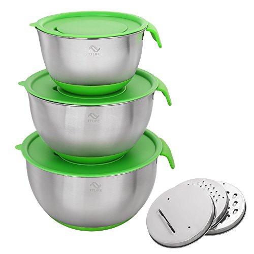 Spoonula Set (TTLIFE Non-Slip-Edelstahl-Rührschüssel-Set mit Deckel, Ausgießer Griffe, Silikon-Strümpfe und 3 Obst- und Gemüseschneider Klingen)