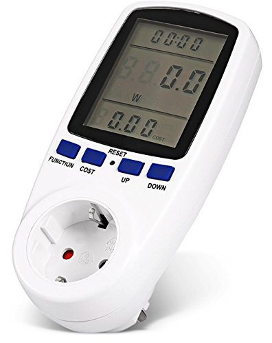 Warmword Electricity Usage Monitor Power Meter Energy Watt Meter with Digital LCD Display -