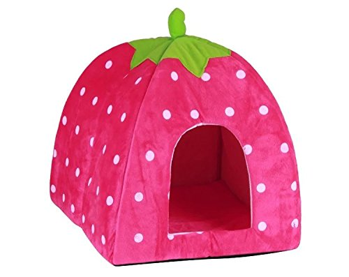 mstar-soft-strawberry-pet-dog-cat-bed-house-kennel-doggy-warm-cushion-basket-pad-hot-pink