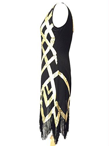 Femmes Années 1920 Style Vintage Costume Charleston Gatsby Abbaye Frange En Perles Et Sequin Robe Droite Noir