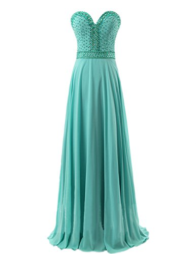 Dresstells Damen Bodenlang Chiffon Promi-Kleider Herzform Abendkleider Rosa