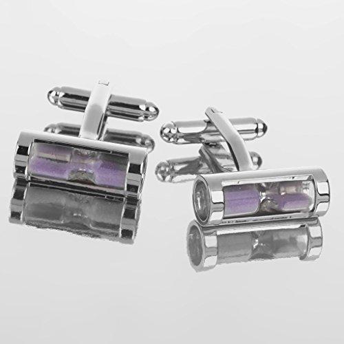 Paire Boutons de Manchette Hommes Forme de Sablier Sable Coloré Accessoire de Chemise Nouveauté Cadeau Fantaisie Mariage Violet