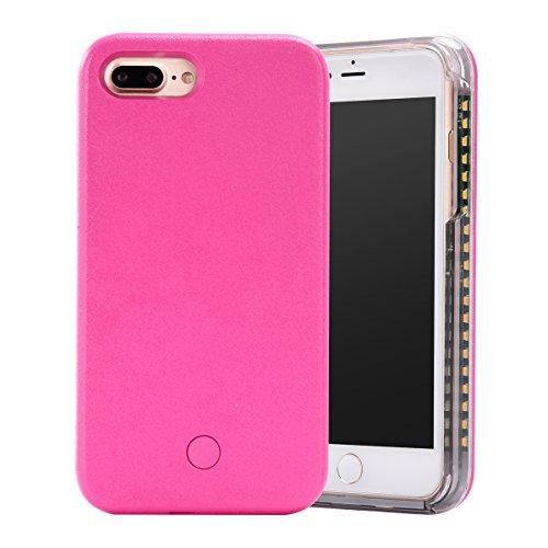 MOONCASE iPhone 7 Plus Hülle, LED Light Up Luminous Selfie Illuminated Hard Tasche Hüllen Schutzhülle Case für iPhone 7 Plus 5.5 Inch (schwarz) Rose rot