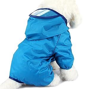 PETCUTE Chiot Chien Imperméable Animal de Compagnie Imperméable Vêtements de Pluie Slicker Veste Poncho Avec cap Pour Petits Chiens de Moyenne Taille