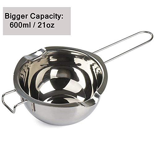 daxin66 Doppel-Boiler, 304 Edelstahl, Kerzen-Herstellungs-Set, Schmelztopf für Butter Schokolade Süßigkeiten Butter Käse Karamell Kapazität (1/2 Quartz, 480 ml), 600 ml