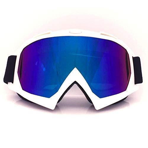 Erwachsene Männer und Frauen Motocross ATV MX Geländelanglaufbrille Brille mit bunten / transparenten Gläsern Outdoor-Sport Ski Snowboard Klettern Camping Motorrad Rennhelm Brille@Weißer Rahmenfar