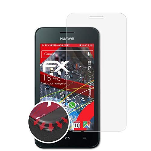 atFolix Schutzfolie passend für Huawei Ascend Y330 Folie, entspiegelnde & Flexible FX Bildschirmschutzfolie (3X)